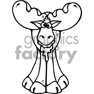 cartoon clipart moose 018 bw clipart. Royalty-free image # 405003