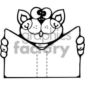 cat reading book 009 bw clipart. Commercial use image # 405020