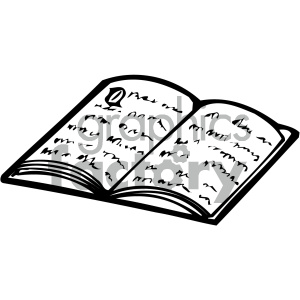 open book 008 bw clipart. Commercial use image # 405026