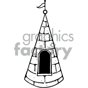 cartoon buildings architecture vector castle window roof black+white PR