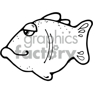 cartoon vector fish 009 bw clipart. Commercial use image # 405276
