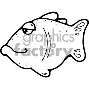 cartoon fish black+white