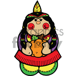 cartoon people human character cute native+american indian