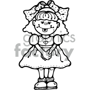 small cute cartoon girl black and white clipart. Commercial use image # 405378