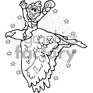 black and white cartoon man riding bird