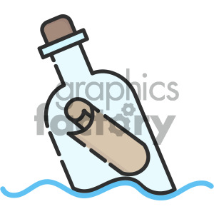 message in a bottle vector icon art clipart. Royalty-free image # 405424