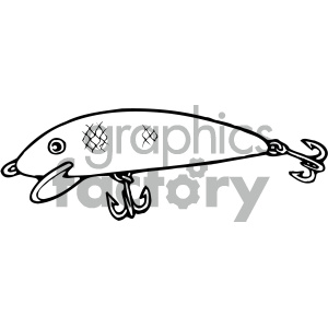 fishing lure 003 black white clipart. Commercial use image # 405429