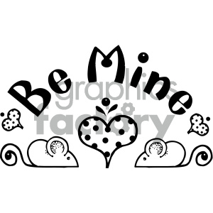 black and white be mine word art clipart. Royalty-free image # 405482