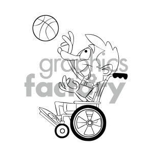 black and white cartoon disabled basketball clipart. Royalty-free image # 405548