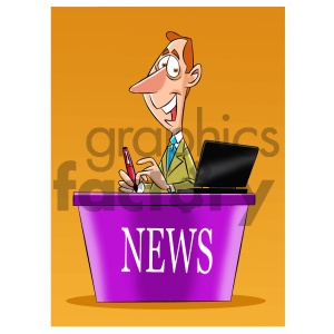 cartoon news reporter clipart. Commercial use image # 405552