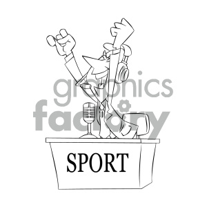 black+white cartoon character mascot funny journalist news reporter sports
