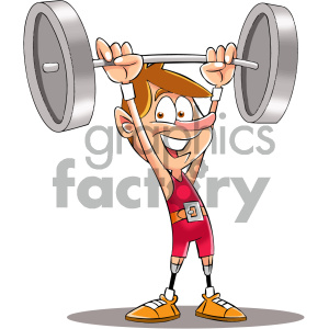 cartoon weight lifters with prosthetic legs clipart. Commercial use image # 405586