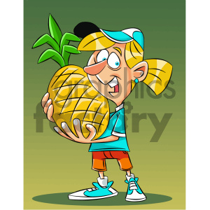 cartoon girl holding huge pineapple clipart. Commercial use image # 405592