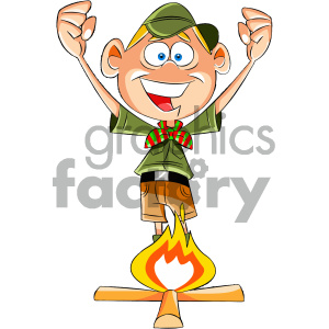 cartoon boy scout character starting a fire clipart. Commercial use image # 405602