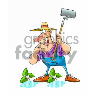 cartoon farmer happy to see water royalty free vector art clipart. Commercial use image # 405612