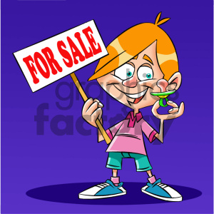 cartoon kid holding a baby binky for sale clipart. Commercial use image # 405626