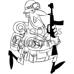 black and white cartoon military character clipart. Royalty-free image # 405634