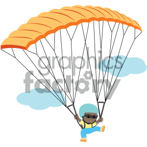 people cartoon child skydiving parachute falling african+american