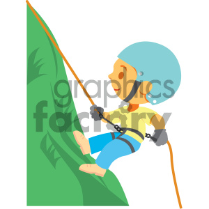 boy climbing a mountain vector illustration clipart. Commercial use image # 405987