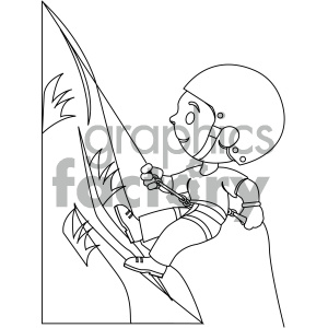 black and white coloring page boy climbing a mountain vector illustration