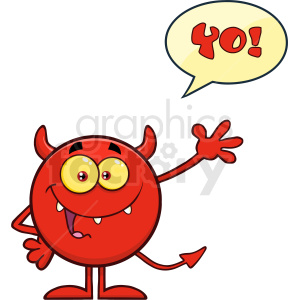 Happy Devil Cartoon Emoji Character Waving For Greeting With Speech Bubble And Text Yo Vector Illustration Isolated On White Background clipart. Royalty-free image # 406120