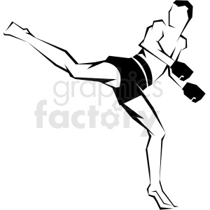 mma fighter reverse kick vector art clipart. Commercial use image # 406198