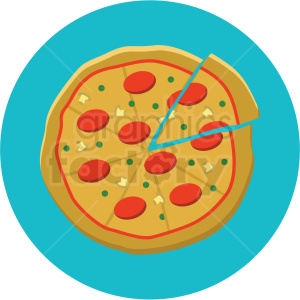 pizza vector flat icon clipart with circle background clipart. Commercial use image # 406720