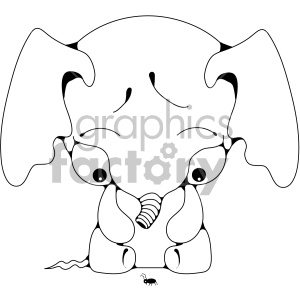 elephant baby cartoon animal black+white