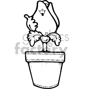 black and white rose flower pot clipart. Commercial use image # 406987