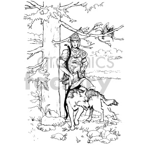 warrior in the woods coloring page illustration clipart. Commercial use image # 407040