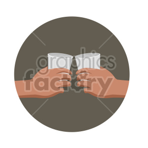 hands giving cheers with two cups flat icons clipart. Royalty-free image # 407146