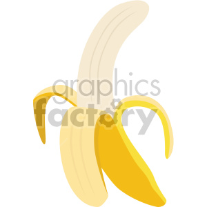 icons fruit food banana peeled