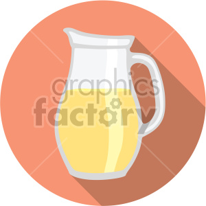lemonade pitcher on orange circle background flat icons clipart. Royalty-free image # 407172