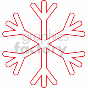 basic red snowflake outline svg cut file clipart. Commercial use image # 407211