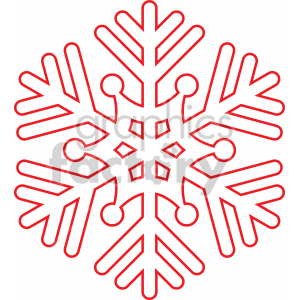red snowflake outline svg cut file clipart. Commercial use image # 407215