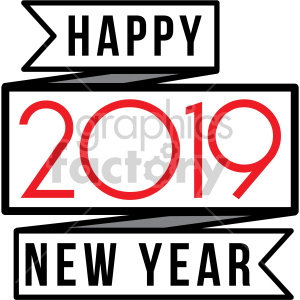 2019 happy new year ribbon clipart. Royalty-free image # 407227