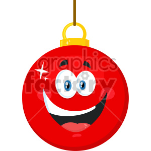 Happy Red Christmas Ball Cartoon Mascot Character Vector Illustration Flat Design Isolated On White Background clipart. Royalty-free image # 407277