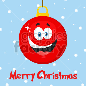 Happy Red Christmas Ball Cartoon Mascot Character Vector Illustration Flat Design Over Background With SnowFlakes And Text Merry Christmas clipart. Commercial use image # 407281