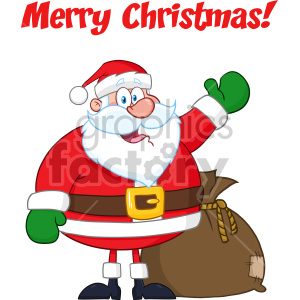 Happy Santa Claus Cartoon Mascot Character Waving Hand Drawing Vector Illustration Isolated On White Background With Text Merry Christmas