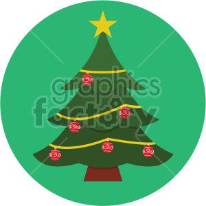 christmas tree on green circle background icon clipart. Commercial use image # 407292