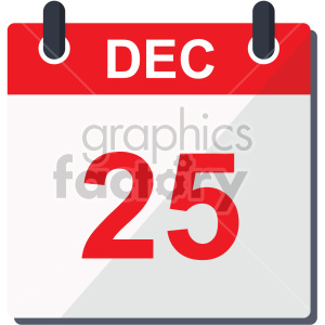 christmas calendar dec 25th icon clipart. Commercial use image # 407307