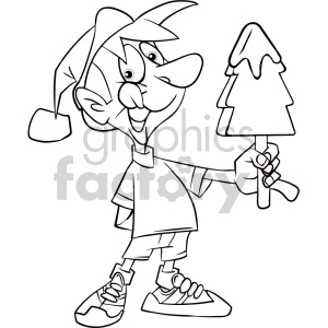 black and white cartoon kid holding christmas tree ice cream coloring page clipart. Commercial use image # 407357