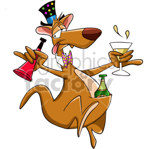 cartoon drunk kangaroo celebrating new years