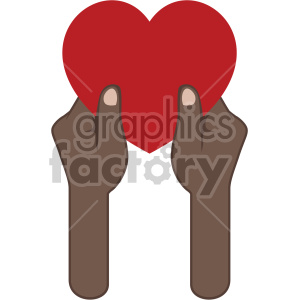 african american hands giving love valentines vector icon no background clipart. Commercial use image # 407498