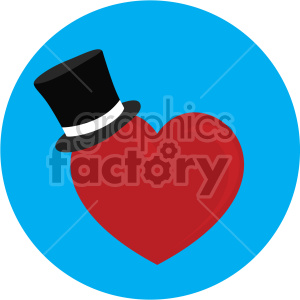 heart with tophat for valentines blue background clipart. Commercial use image # 407593