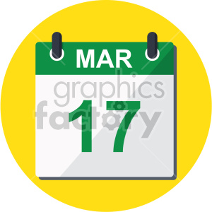 st patricks day calendar on yellow background clipart. Commercial use image # 407674