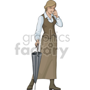women talking on the phone holding an umbrella clipart. Royalty-free image # 155387