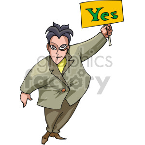 man holding a yes sign clipart. Royalty-free image # 155341