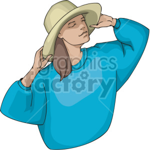 lady grabbing her hat clipart. Commercial use image # 155379