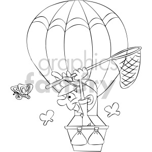 black and white cartoon man in hot air balloon clipart. Commercial use image # 407889